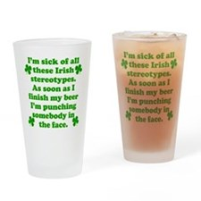 Irish Stereotypes Drinking Glass