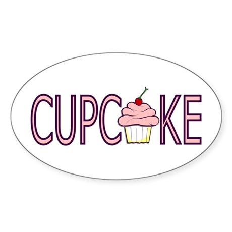Pink Cupcake Oval Sticker
