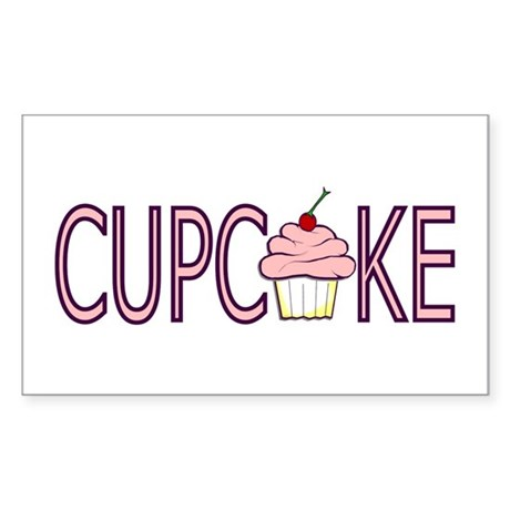 Pink Cupcake Rectangle Sticker