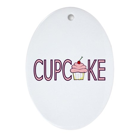 Pink Cupcake Oval Ornament
