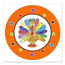 "Thanksgiving Turkey Polk Square Car Magnet 3"" x 3"""