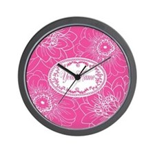 Pink Flower Blossoms Personalized Wall Clock