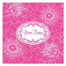 Pink Flower Blossoms Personalized 5.25 x 5.25 Flat