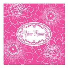 Pink Flower Blossoms Personalized Square Car Magne