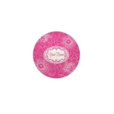 Pink Flower Blossoms Personalized Mini Button