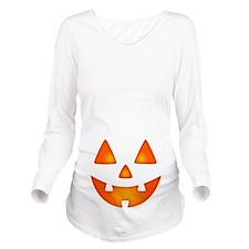 Happy Pumpkin Face Long Sleeve Maternity T-Shirt