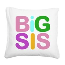 Colorful Funky Big Sis Square Canvas Pillow
