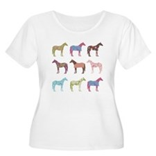 Colorful Horse Pattern Plus Size T-Shirt