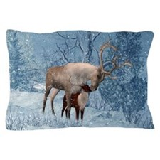 Reindeer And Calf Winter Holiday Pillow Case
