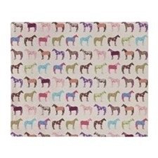 Colorful Horse Pattern Throw Blanket