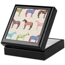 piColorful Horse Pattern Keepsake Box