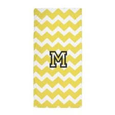 Yellow Chevron Monogram Beach Towel