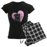 Black pug heart Women's Pajamas Dark