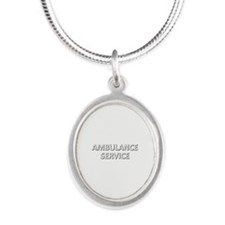Ambulance Services - white Silver Oval Necklace