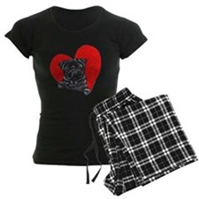 Black Pug Heart Pajamas