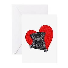 Black Pug Heart Greeting Cards (Pk of 10)
