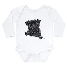 Black Pug Line Art Long Sleeve Infant Bodysuit