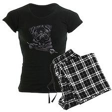 Black Pug Line Art Pajamas