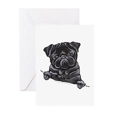 Black Pug Line Art Greeting Card