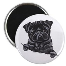 Black Pug Line Art Magnet