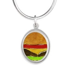 Hamburger Silver Oval Necklace