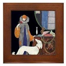 Art Deco White Borzoi Framed Tile