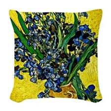 Van Gogh - Still Life with Iri Woven Throw Pillow
