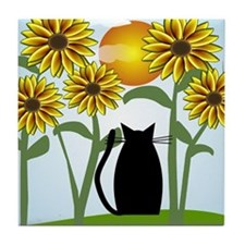 Sunflowers and Cat 2 Tile Coaster