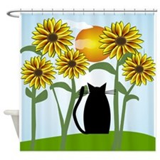 Sunflowers and Cat 2 Shower Curtain