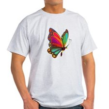 Rainbow Butterfly Ash Grey T-Shirt