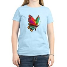 Rainbow Butterfly Women's Pink T-Shirt