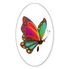 Rainbow Butterfly Oval Decal