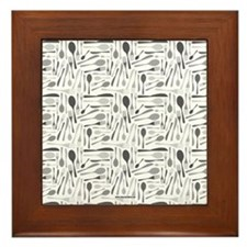 Fork and Knives Kitchen Chef Pattern Grey Framed T