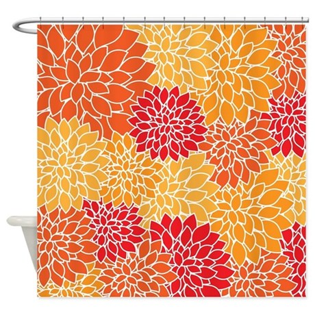 Vintage Floral Orange Dahlia Shower Curtain By Walela