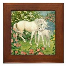 Unicorn Mare and Foal Framed Tile