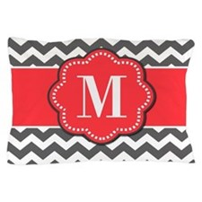 Gray Chevron Coral Monogram Pillow Case