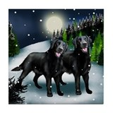 LABRADOR RETRIEVER DOGS SNOW Tile Coaster