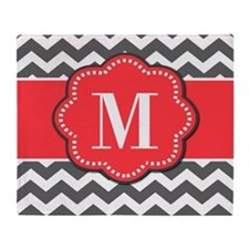 Gray Chevron Coral Monogram Throw Blanket