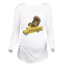 Squirrel on School Bus Long Sleeve Maternity T-Shi