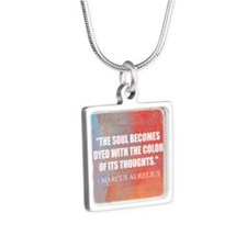The Soul Becomes Dyed | Silver Square Necklace