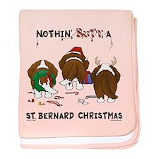 St. Bernard Christmas baby blanket