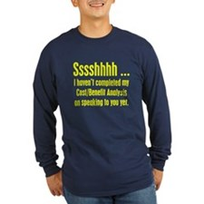 Cost Benefit Analysis Long Sleeve Blue T-Shirt
