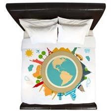 World Travel Landmarks King Duvet