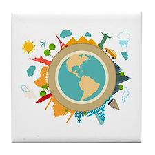 World Travel Landmarks Tile Coaster