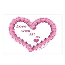 Memory Rose Heart Valentine Postcards (Package of