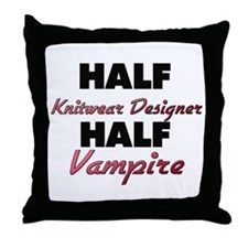 Half Knitwear Designer Half Vampire Throw Pillow
