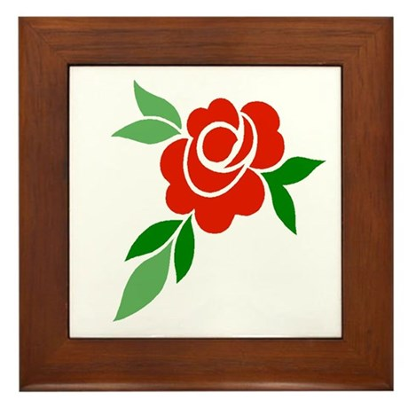 Red Rose Framed Tile