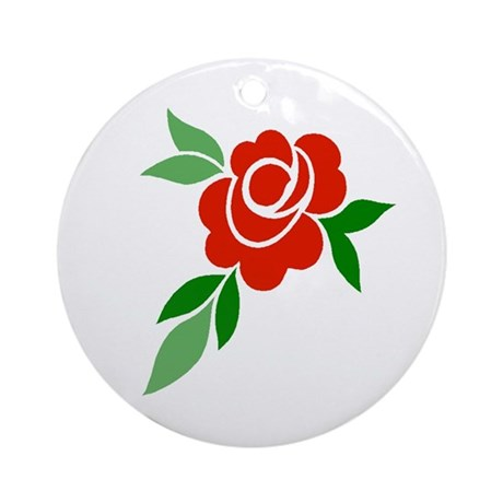 Red Rose Ornament (Round)