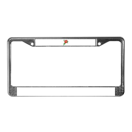 Red Rose License Plate Frame