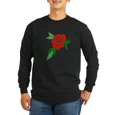 Red Rose Long Sleeve Dark T-Shirt